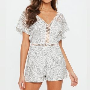 Missguided White Lace V-Neck Romper Playsuit
